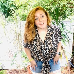 vintage vsco 90s leopard print button up popover